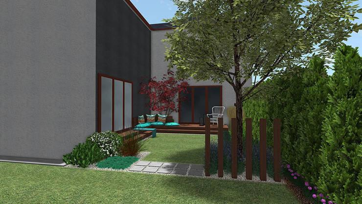 Ogród przy szeregowcu w Dąbrówce koło Poznania: styl , w kategorii  zaprojektowany przez Rock&Flower studio. Pracownia architektury krajobrazu.