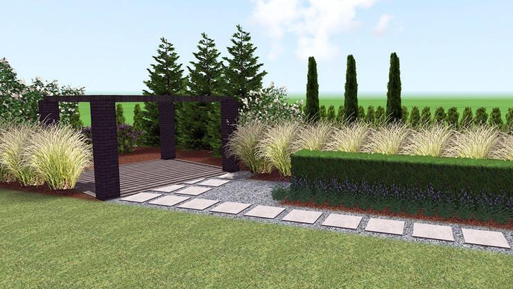 Nowoczesny ogród tarasowy w Szczecinku: styl , w kategorii  zaprojektowany przez Rock&Flower studio. Pracownia architektury krajobrazu.