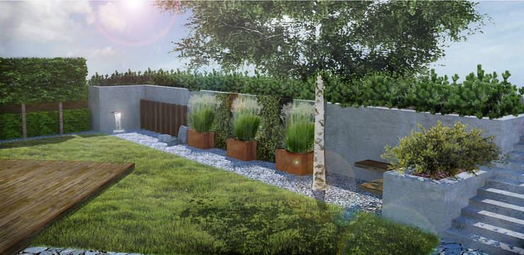 Ogród w skandynawskim stylu w Gdyni: styl , w kategorii  zaprojektowany przez Rock&Flower studio. Pracownia architektury krajobrazu.,Skandynawski