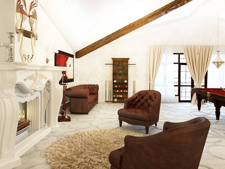 Дизайн загородного дома в стиле классика: Гостиная в . Автор – Space - студия дизайна интерьера премиум класса, Колониальный