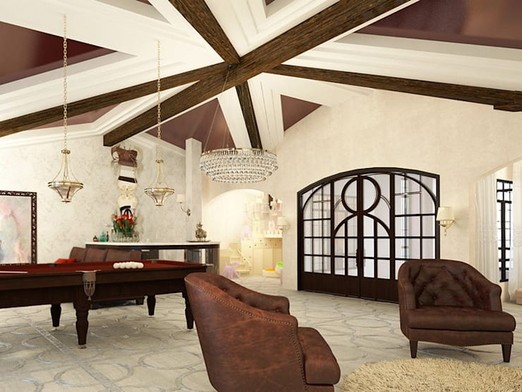 Дизайн загородного дома в стиле классика: Гостиная в . Автор – Space - студия дизайна интерьера премиум класса, Классический