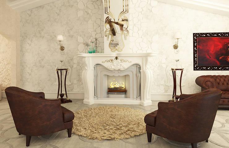 Дизайн загородного дома в стиле классика: Гостиная в . Автор – Space - студия дизайна интерьера премиум класса