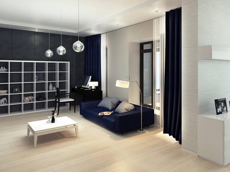 Дизайн гостиной загородного дома в стиле минимализм: Гостиная в . Автор – Space - студия дизайна интерьера премиум класса, Минимализм