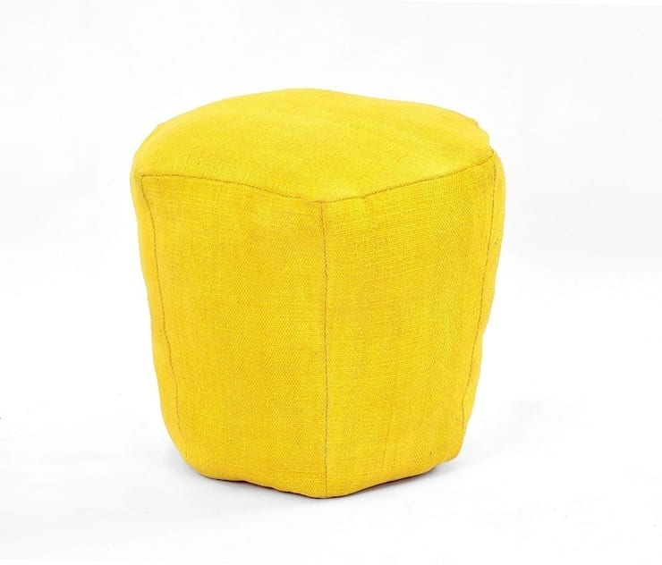 Yellow Cotton Poufs:  Living room by Natural Fibres Export