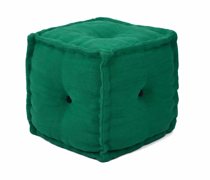 Green Cotton Pouf:  Living room by Natural Fibres Export