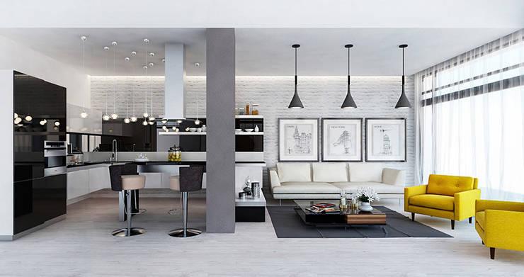 Дизайн загородного дома в стиле минимализм: Кухни в . Автор – Space - студия дизайна интерьера премиум класса