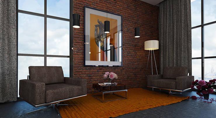 Дизайн квартиры в стиле лофт: Рабочие кабинеты в . Автор – Space - студия дизайна интерьера премиум класса