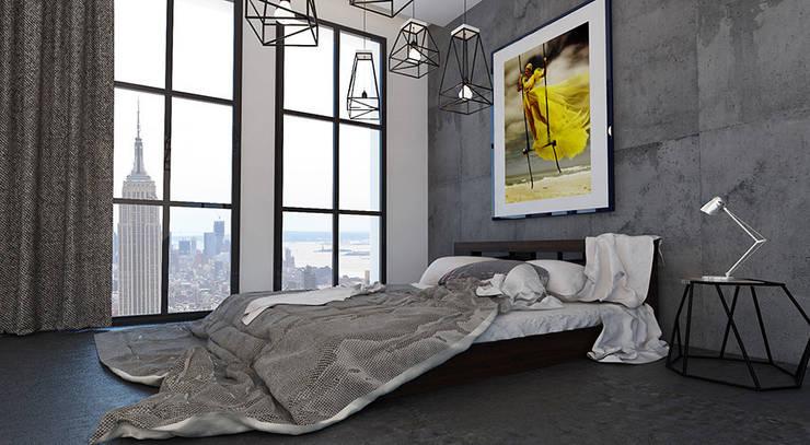 Дизайн квартиры в стиле лофт: Спальни в . Автор – Space - студия дизайна интерьера премиум класса