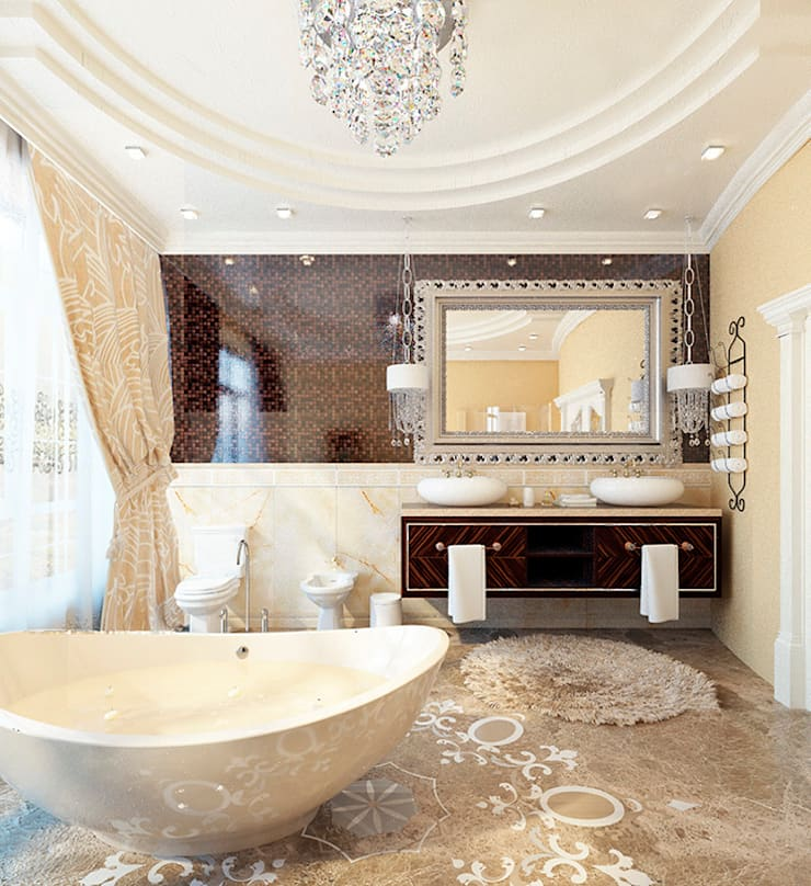 Дизайн загородного дома в стиле классика: Ванные комнаты в . Автор – Space - студия дизайна интерьера премиум класса, Классический