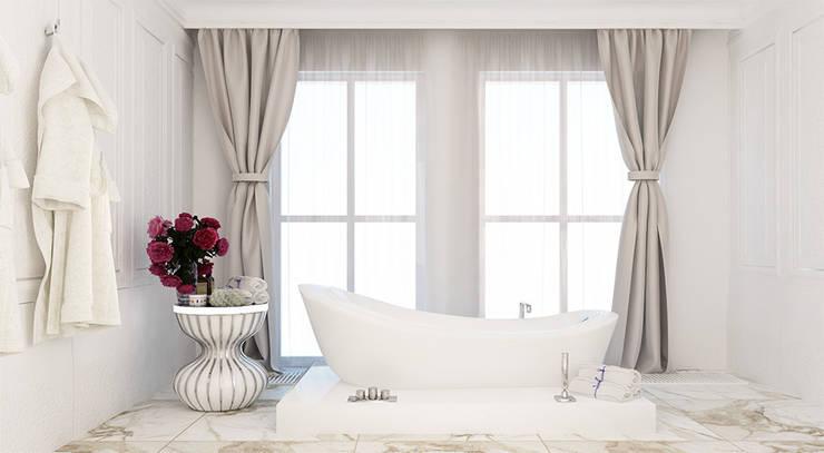 Дизайн квартиры в стиле современная классика: Ванные комнаты в . Автор – Space - студия дизайна интерьера премиум класса