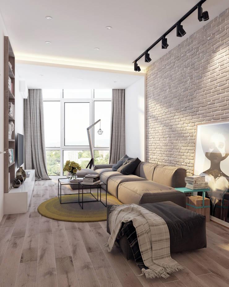 Квартира для молодой пары: Гостиная в . Автор – Котова Ольга