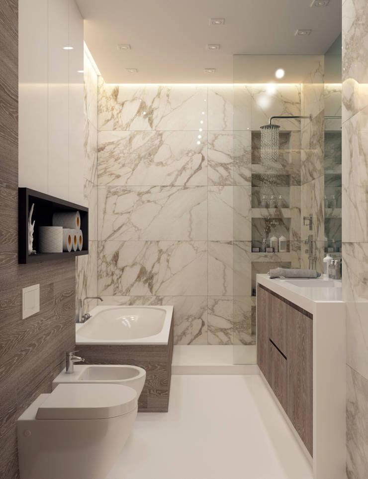 Квартира для молодой пары: Ванные комнаты в . Автор – Котова Ольга