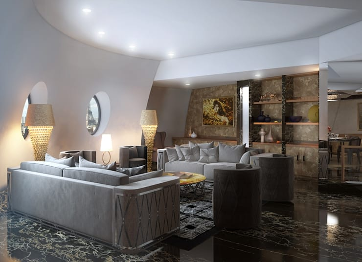 Interior apartments in Paris.: Гостиная в . Автор – Design studio of Stanislav Orekhov. ARCHITECTURE / INTERIOR DESIGN / VISUALIZATION.