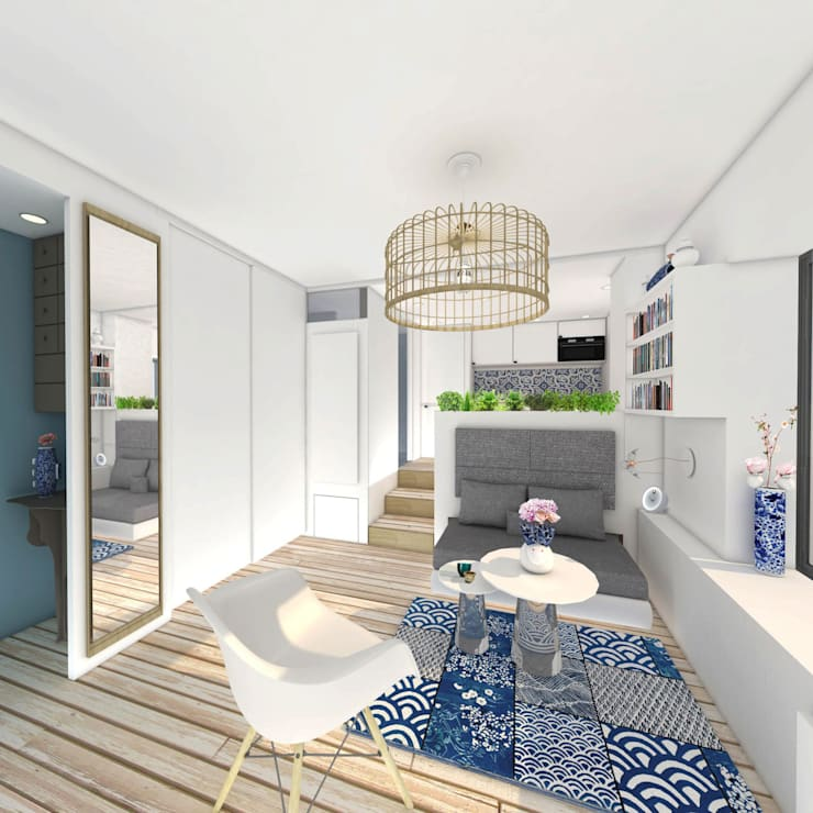 Studio 23m²: Salon de style de style eclectique par Aurélia Petitet