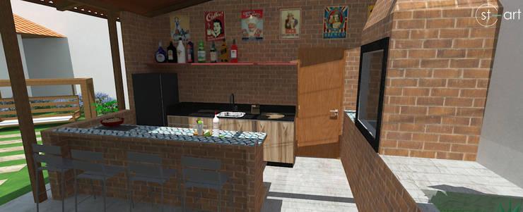 Área Gourmet, lazer para a família e amigos.: Cozinhas  por start.arch architettura,Rústico
