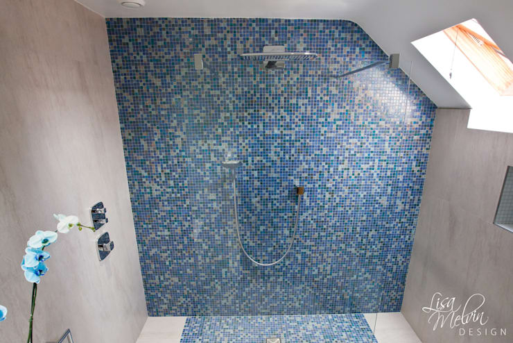 Shower & Mosaic Wall : modern Bathroom by Lisa Melvin Design