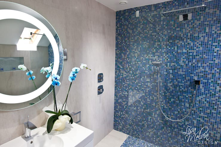 Shower & Mosaic Wall :  Bathroom by Lisa Melvin Design