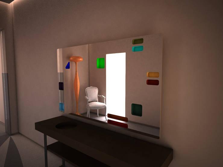 Render di progetto: Ingresso, Corridoio & Scale in stile  di Alfonso D'errico Architetto