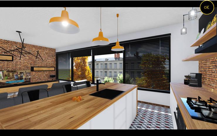Ofis K Mimarlık ve Tasarım – OK-İÇ MİMARİ – S..B.. SALON VE MUTFAK:  tarz Ev İçi