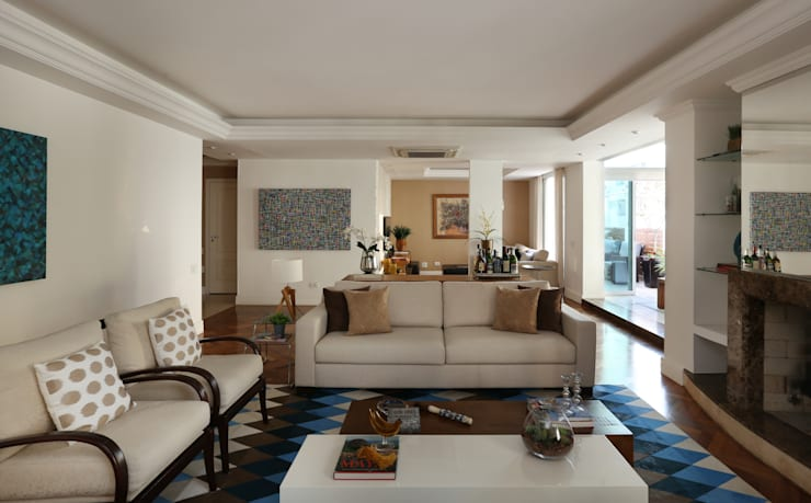 Apartamento Higienópolis/SP: Salas de estar modernas por Renata Romeiro Interiores