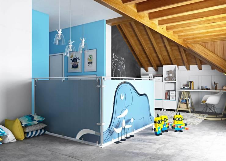 """Piano sottotetto - Kid's floor - la  stanza del """"Piccolo Principe"""": Stanza dei bambini in stile  di valentina bandera STUDIO"""