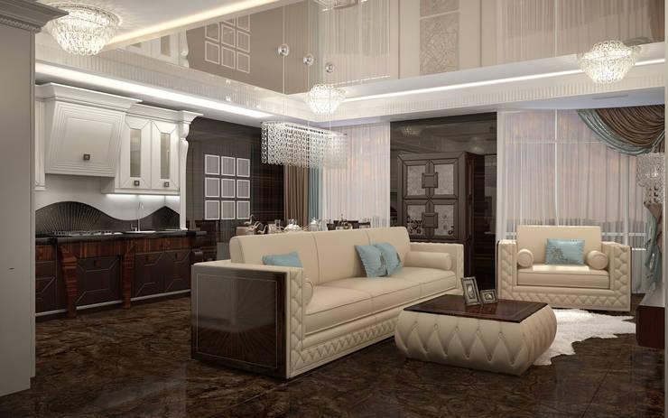 Квартира в Ялте: Гостиная в . Автор – Дизайн - студия Пейковых