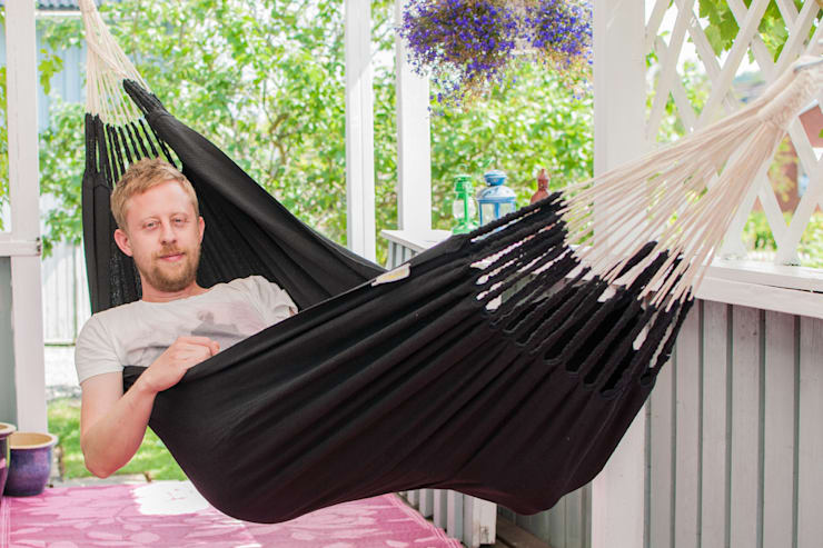 Black Cotton Knitted Hammock for One:  Balconies, verandas & terraces  by Emilyhannah Ltd