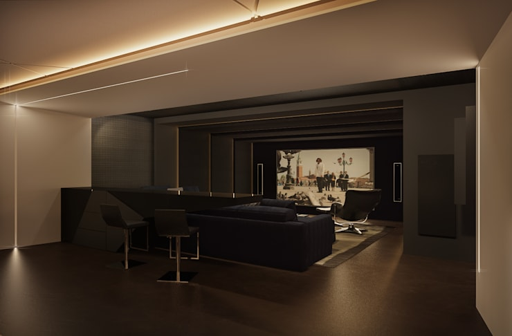 Коттедж в Москве. Кинотеатр – билльярдная: Медиа комнаты в . Автор – Дизайн - студия Пейковых