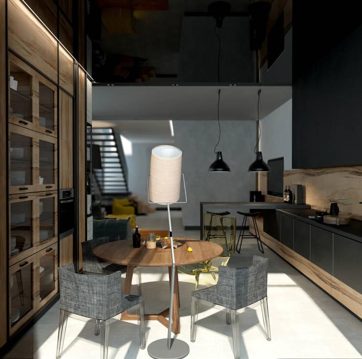 Cocinas de estilo industrial por Дизайн - студия Пейковых