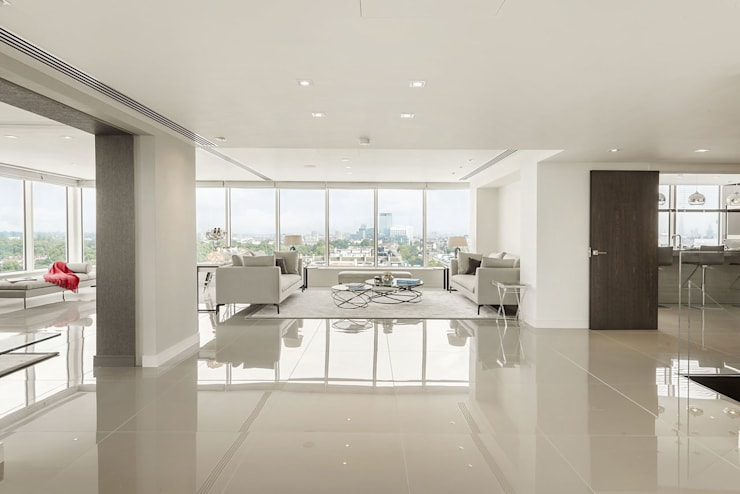 Luxury London penthouse with open plan design and polished porcelain tiled floors:  Walls by Porcel-Thin