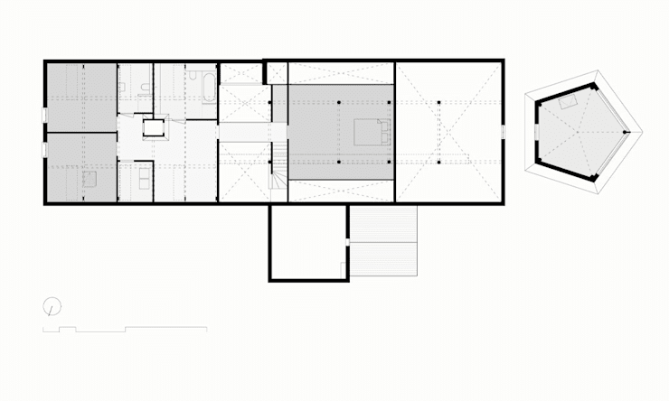 1e Verdieping:   door Bos in 't Veld Architecten