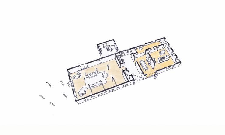 Ruimtelijk model begane grond:   door Bos in 't Veld Architecten