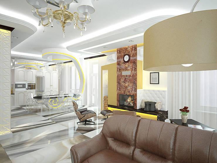 Шик 2: Гостиная в . Автор – Дизайн студия Александра Скирды ВЕРСАЛЬПРОЕКТ, Эклектичный