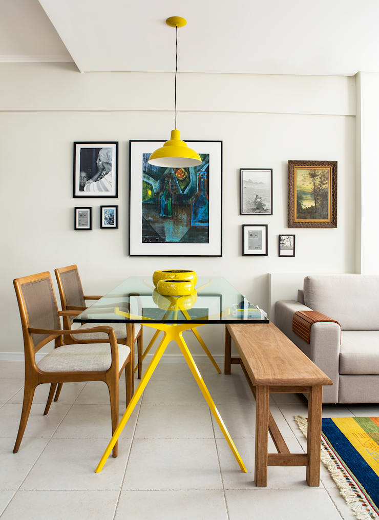 Parede de Quadros: Salas de jantar  por Bruno Sgrillo Arquitetura,