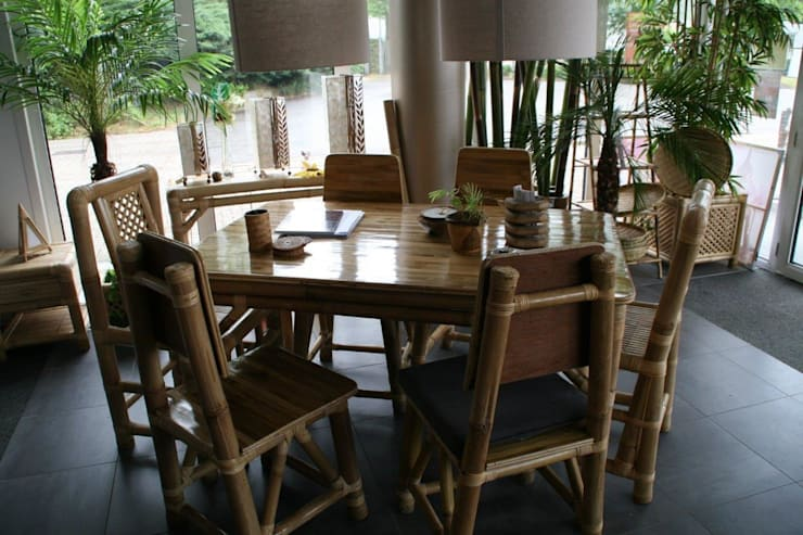 Eettafel van glad bamboe: tropische Eetkamer door Bamboe design