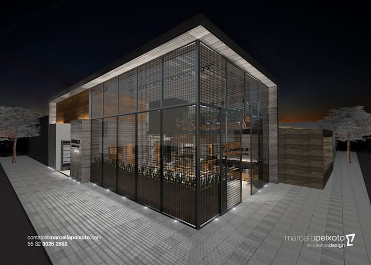 Fachada : Espaços gastronômicos  por Marcella Peixoto Arquitetura Design