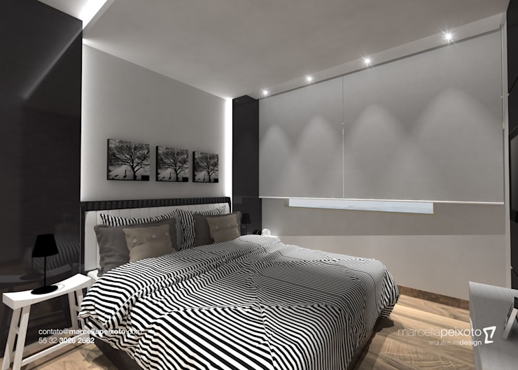 Quarto Casal: Quartos  por Marcella Peixoto Arquitetura Design