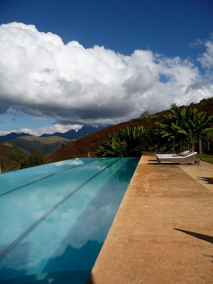 Piscina com raia de 20 metros e borda infinita: Piscinas  por Ronald Ingber Arquitetura