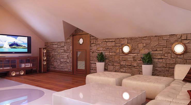 Гостиная мансарды: Гостиная в . Автор – Architoria 3D