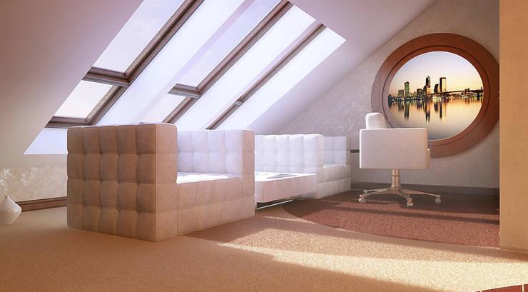 Кабинет на  мансарде: Рабочие кабинеты в . Автор – Architoria 3D