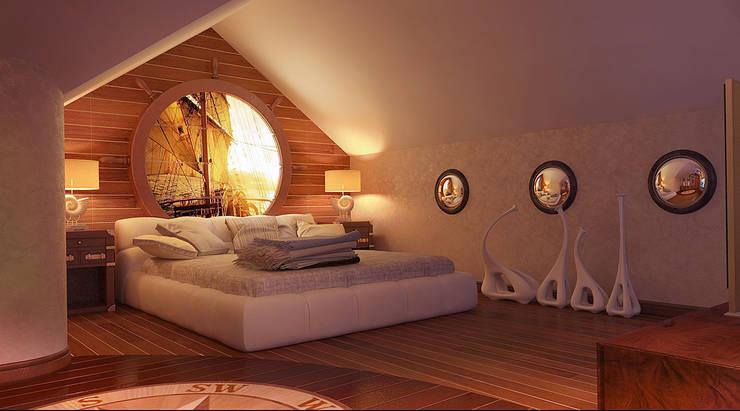 Спальня на  мансарде: Спальни в . Автор – Architoria 3D