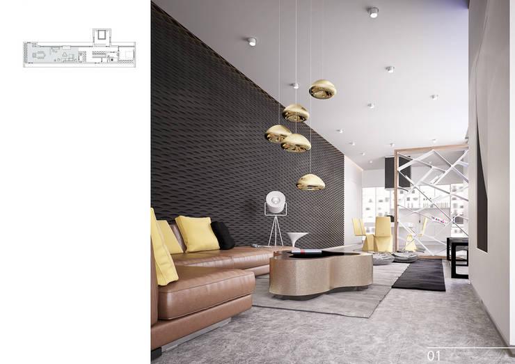 Salas de estar modernas por Aksenova&Gorodkov project
