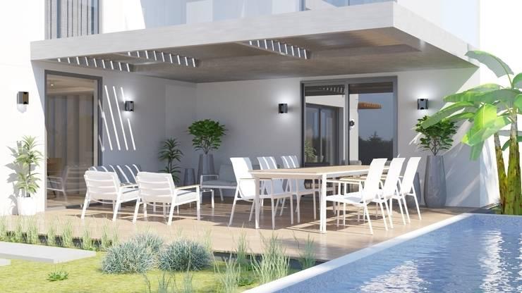FARGO DESIGNS – MAMURBABA VILLA: modern tarz Balkon, Veranda & Teras