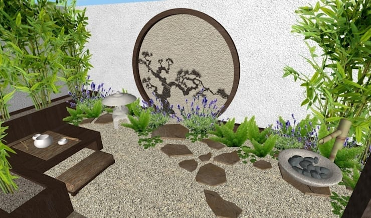 jardin-patio oriental muy pequeño: Jardines de estilo  por Zen Ambient