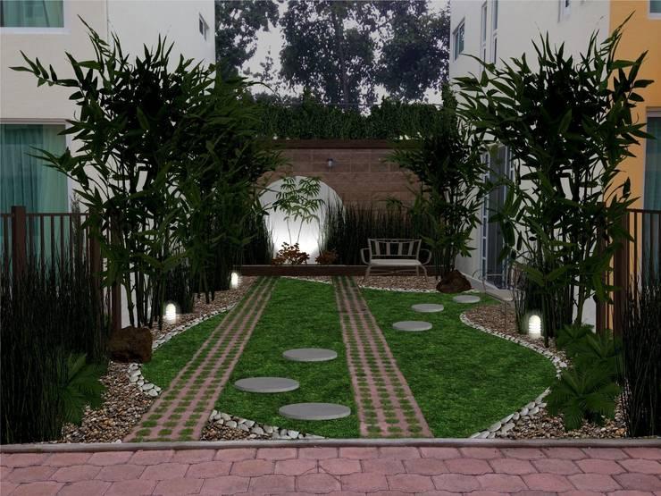 jardín de bambu - iluminación de noche: Jardines de estilo  por Zen Ambient