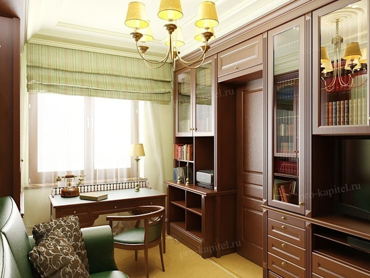 Дизайн интерьера кабинета в классическом стиле: Рабочие кабинеты в . Автор – Архитектурное Бюро 'Капитель', Классический