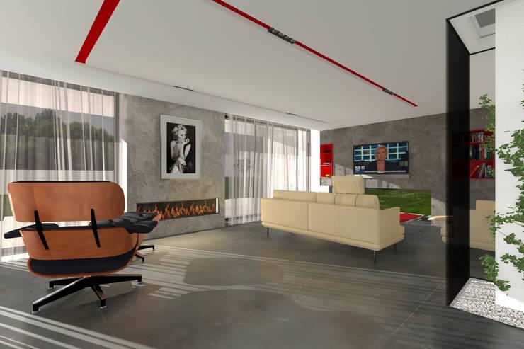 Dom Passive_Luxury: styl , w kategorii Salon zaprojektowany przez ABC Pracownia Projektowa Bożena Nosiła,Minimalistyczny