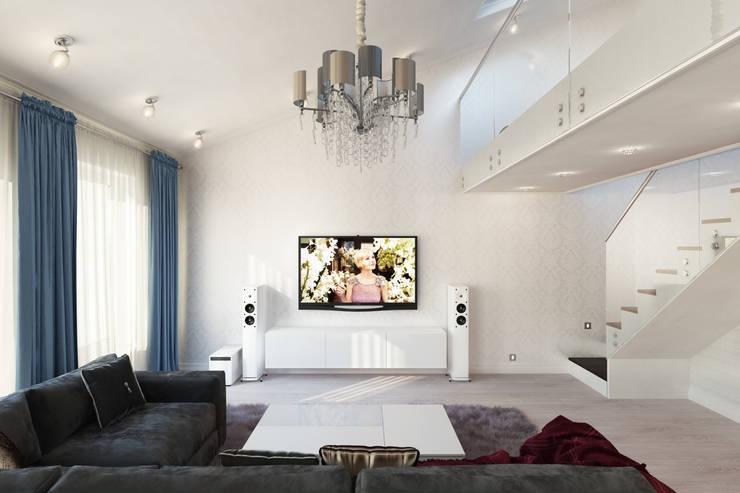Квартира с мансардой: Гостиная в . Автор – Александра Кудрявцева