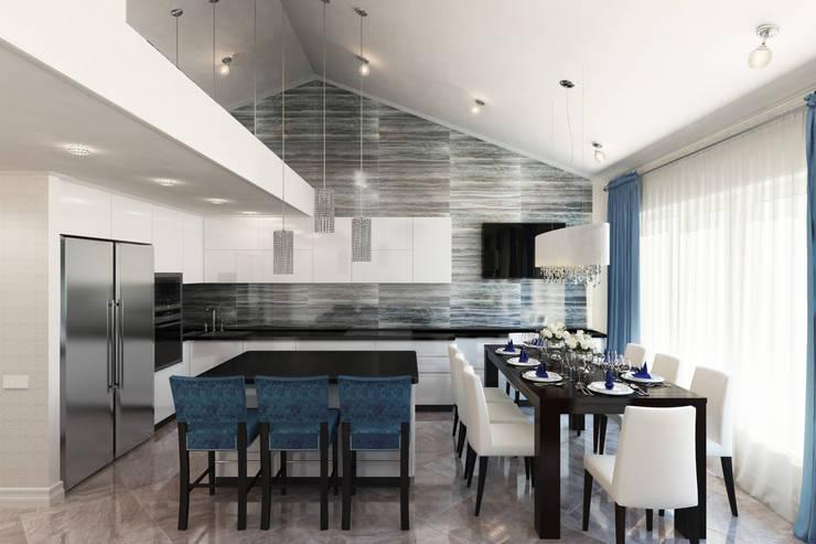 Квартира с мансардой: Кухни в . Автор – Александра Кудрявцева