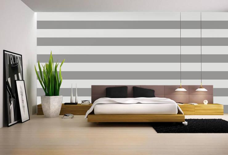 Tapeta w pasy poziome srebrno-szara : styl , w kategorii Ściany zaprojektowany przez Dekoori